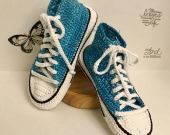 Women's Crochet Converse Slippers, Crochet Slippers
