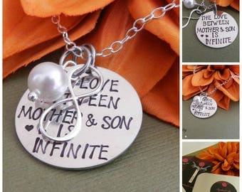 Mothers day from Son, Mothers day gift jewelry, The love between mother and son is infinite, Mother in law gift,Gift from son to mother