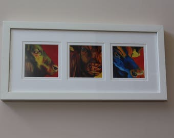 Limited Edition Triptec FRAMED PRINT of BULLS in Purple, yellow, red, green, orange and blue from original oil painting