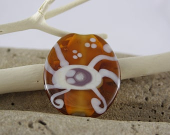 Orange large flat glass bead