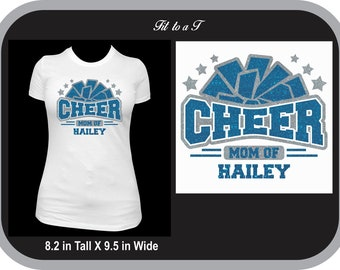 Cheer Mom Glitter Shirt, Spiritwear, Personalized Cheer Mom T-Shirt, Cheer Mom Gift