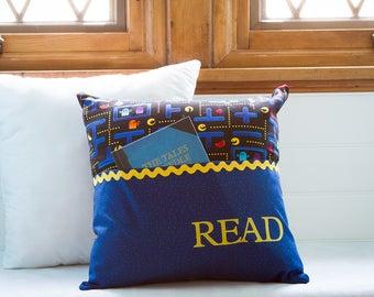 Pocket Reading Pillow - Pac Man Video Game Motif