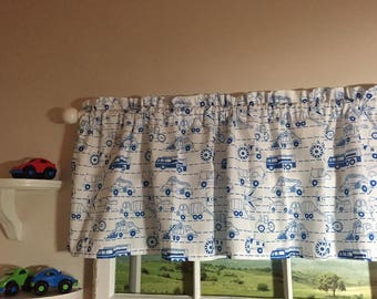 Blue and White Cars and Trucks Valance 64 Inches Wide