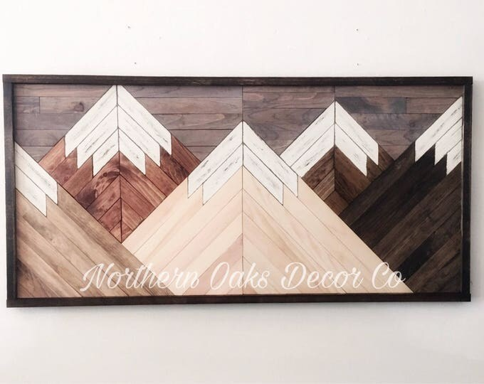 Featured listing image: Reclaimed wood wall art, wood art, mountain range art, rustic wall decor, mountain decor, rustic wall art