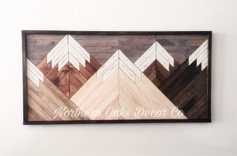 Reclaimed wood wall art wood art mountain range art rustic wall
