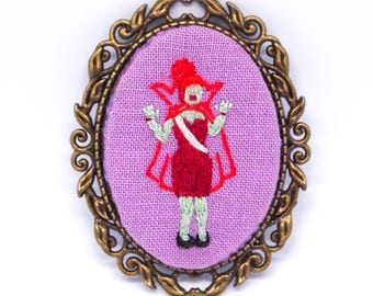 Miss Argentina Hand Embroidered Cameo Brooch