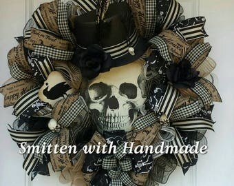 Skeleton Halloween Wreath, Classy Top Hat Skeleton Wreath, Classy Halloween Wreath, Skeleton Wreath, Halloween Wreath, Halloween Door Decor