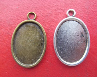 Oval Pendant Tray, Bezel Setting,18mmx25mm Cabochon Tray - Antique Bronze,Antique Silver