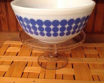 Blue polka dot Pyrex bowl