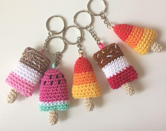 Crochet Ice Lolly Keyring - Fab Lolly - Rocket Lolly - Lollipop - Novelty Keyring - Crochet Popsicle Keychain
