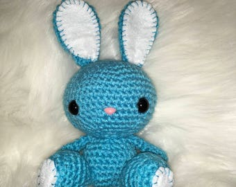 Crochet bunny with rattle, bunny, rabbitChildrens Gift Made To Order (photoprop, newborn photography)