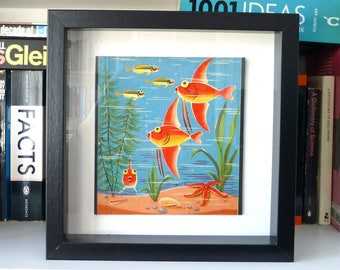 Framed Vintage Fishing Game Graphic - Original Toy Aquarium-style Side Piece - Fish & Starfish