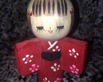 Wooden Japanese Kokeshi Girl Doll