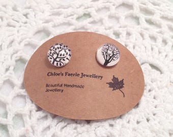 Stud Earrings - Tiny Trees, Altered Art Earrings, Silver Plated Earrings, Unique Stud Jewellery