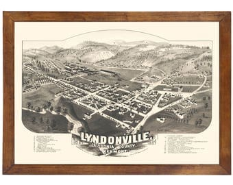 Lyndonville, VT 1884 Bird's Eye View; 24x36 Print from a Vintage Lithograph