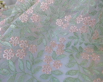 Exquisite Floral Embroidery Lace Fabric In Green/Pink By The Yard, Organza Lace Fabric, Bridal Gown Lace Fabric