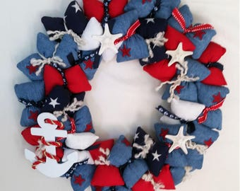 Patriotic Nautical Themed Stuffed Pillow Wreath with Starfish Embellishments