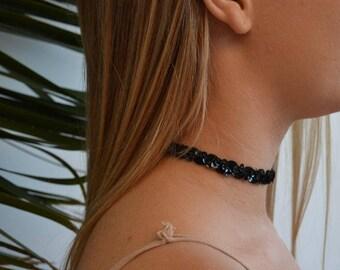 Sequin Choker Necklace Black