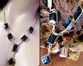 """Violet Iolite Cordierite + Sterling Silver .925 necklace 19"""""""