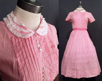 Vintage 50s dress ※ Fit and flare dress ※ Peter Pan dress ※ M ※ 50s dresses ※ pink plaid ※ viva las vegas dress ※ short sleeve