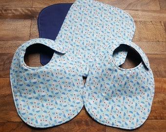 Baby Bib and Burp Cloth Set - Sailboat and Navy Blue