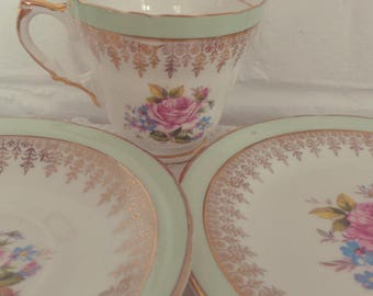 Very Pretty Vintage Mint Green Floral China Tea Set Trio with gold gilding, afternoon tea, English bone china