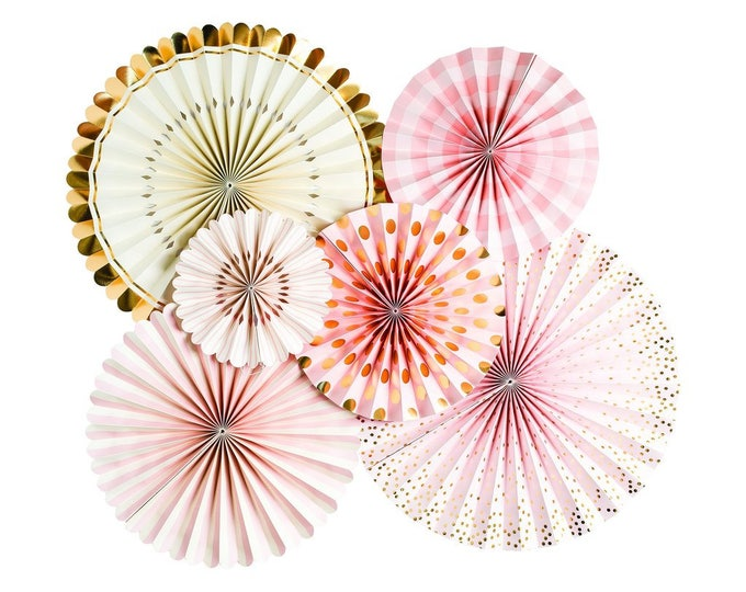 Pink, White and Gold Party Rosettes with confetti, Pink and Gold Party Decor, Pom Wheels and Rosettes, Light Pink and Gold Fans, PLBB01