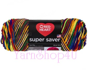 MEXICANA Red Heart Super Saver. Rainbow, Bright Multi color yarn. Mexicana Ombre. Bright Variegated. Value Acrylic Yarn. 5oz Economy Size