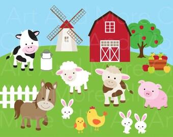 Farm Animal Clipart Clip Art Cute Farm Animal Clipart Farm Clipart Cow Horse Sheep Pig Chicken Bull Rabbit Barn Clipart Instant Download