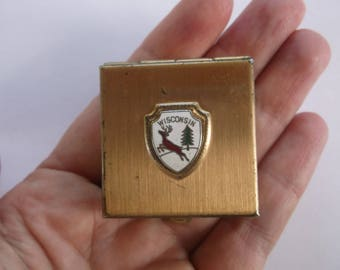 Vintage Mid Century Pill Box or Small Trinket Box, Crest, Shield or Coat of Arms for Wisconsin, Deer and Pine Tree