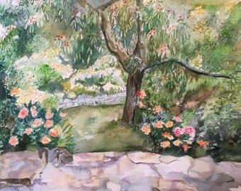 Watercolor painting art / Garden / Rose/landscape nature/trees / rose Bush.