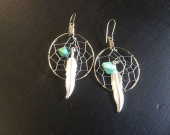 Dream Catcher Earrings, Turquoise Magnesium and Metal Feather, Made in Canada