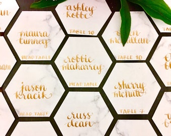 Hexagon Marble cardstock place cards with custom hand calligraphy