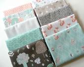 Woodland Animals Baby Fabric Bundle, 3 Wishes Little Forest, Fat Quarter Bundle, 1/2 Yard Bundle or 1 Yard Bundle of 10, Cotton Baby Fabric