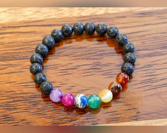 Genuine Coloured Agate Gemstone Chakra Bracelet with Lava Beads