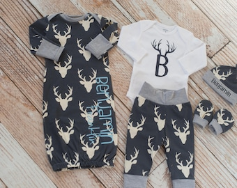 Personalized Baby Name Navy Deer Antlers Coming Home Gown with Bodysuit, Pants, Mitts, and Hat set