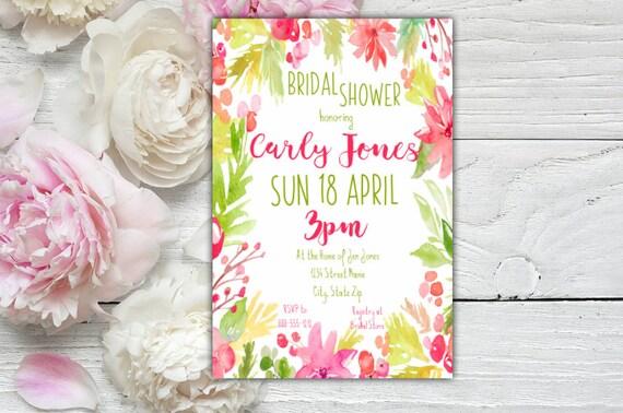 Watercolor Frame Bridal Shower Invitation