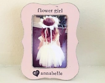 Flower girl picture frame Gift for flower girl personalized flower girl frame from bride wedding frame - Flowers in December