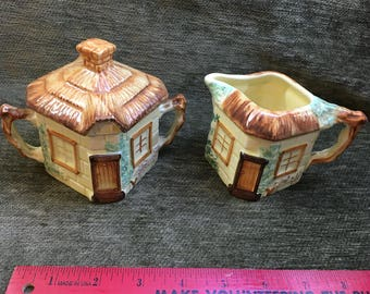 Keele St Pottery Cottage Sugar and Creamer, Hand Painted Cottages, England, 1940's, Cottage Pottery, English Pottery