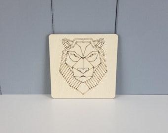 "Geometric Coaster - Lion - 100mm / 4"""