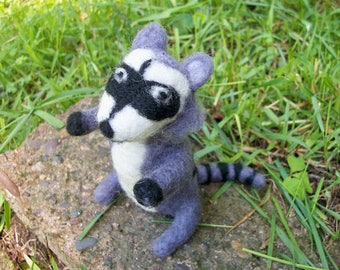 Raccoon Figure, Felted Raccoon, Handmade Doll, FeltWithAHeart