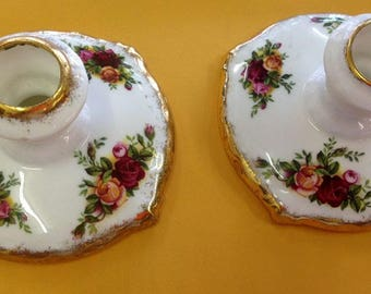 Royal Albert Old Country Roses Candlestick Holders x 2