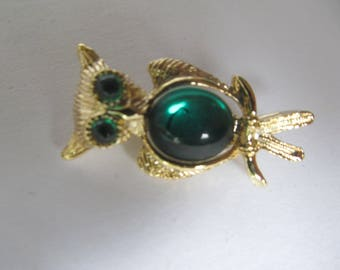 Owl  Brooch  - Emeral Eyes and Body -