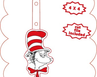 Cat in the hat in the hoop keyfob snaptab machine embroidery design celebrate Dr Seuss birthday