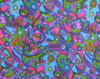Amazing vintage 60s 2.72 m x 1.53 wide psychedelic fabric - groovy pink purple blue & green - stunning pattern huge piece
