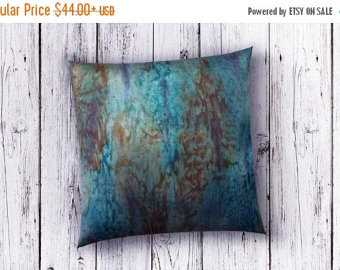 SALE Teal Pillow Cover 18x18-Watercolor Silk Pillow-Zen Chic Decor-Coastal Decor-Beach Decor-Gift