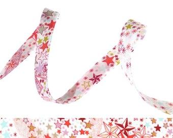 Adelajda Corail Liberty bias binding 1x Yard, 10mm wide bias binding with star print, sewing and haberdashery supplies UK
