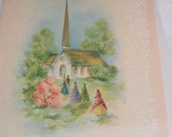 Happy Easter card church unused+env