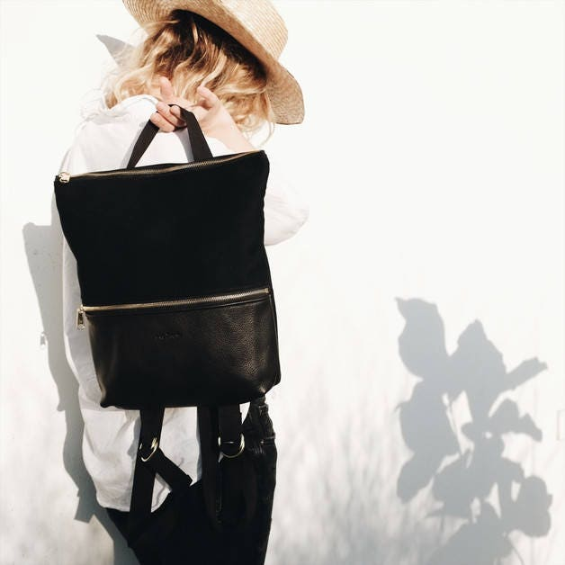 boho rucksack schwarzer rucksack kleiner rucksack hipster. Black Bedroom Furniture Sets. Home Design Ideas