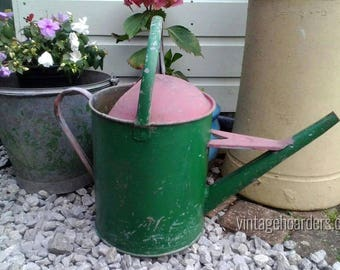 Large, Vintage Watering Can, 2 Gallon, Galvanised Planter, Garden display.